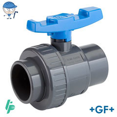 Single union ball valve with solvent cement sockets PVC-U