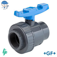 Single union ball valve with threaded sockets Rp PVC-U