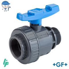 Ball valve with female threaded socket Rp/male thread R PVC-U