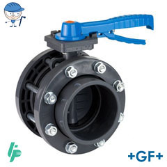 Lever-operated butterfly valve PVC-U With free flanges kit