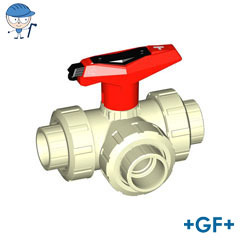 3-Way ball valve type 543 With lockable handle L port PP-H