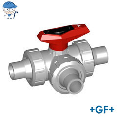 3-Way ball valve type 543 PVC-C L-port With solvent cement spigots metric