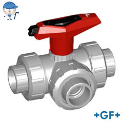 3-Way ball valve type 543 PVC-C L-port With lockable handle