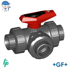 3-Way ball valve type 543 PVC-U T-port cement sockets