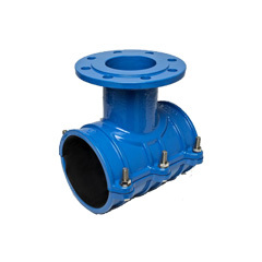 Flanged saddle for PE/PVC pipes